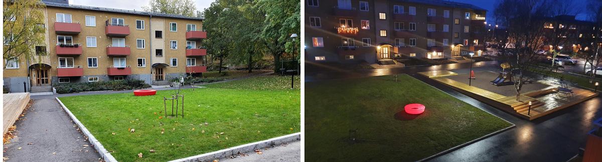 Grönområden och ljusskulpturer